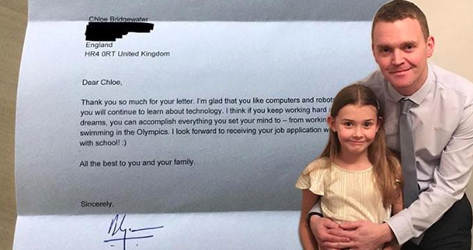 Google'a iş başvurusu yapan 7 yaşındaki kıza CEO'dan mektup geldi