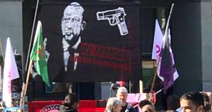 Erdoğan'ı hedef gösteren skandal pankart için soruşturma başlatıldı
