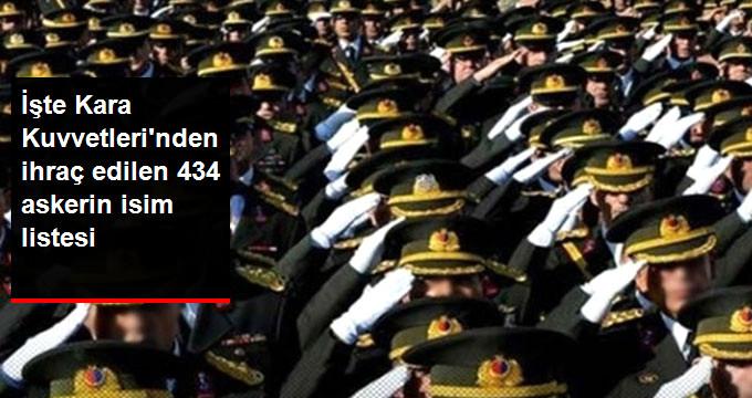 İşte Kara Kuvvetleri'nden ihraç edilen 434 askerin isim listesi