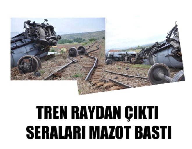 Tren Raydan Çıktı Seraları Mazot Bastı