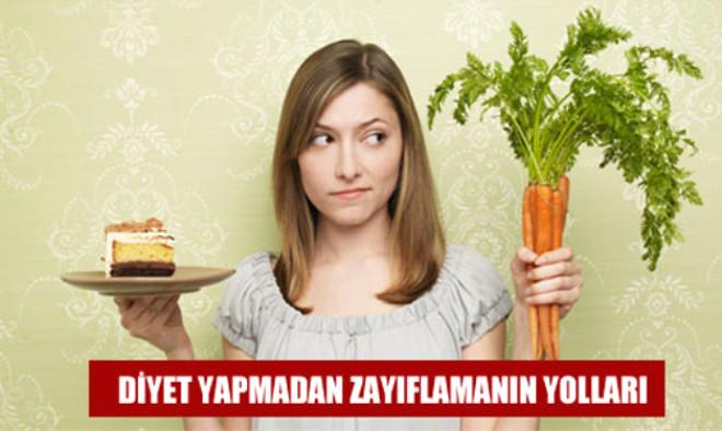 WebMD isimli internet sitesinde yer alan habere göre, zayıflamak için mutlaka diyet yapmanız gerekmiyor. Yediğiniz gıdalara dikkat ederek, yaşam tarzınızı değiştirerek de kilo verebilirsiniz. İşte diyet yapmadan zayıflamanın yolları: