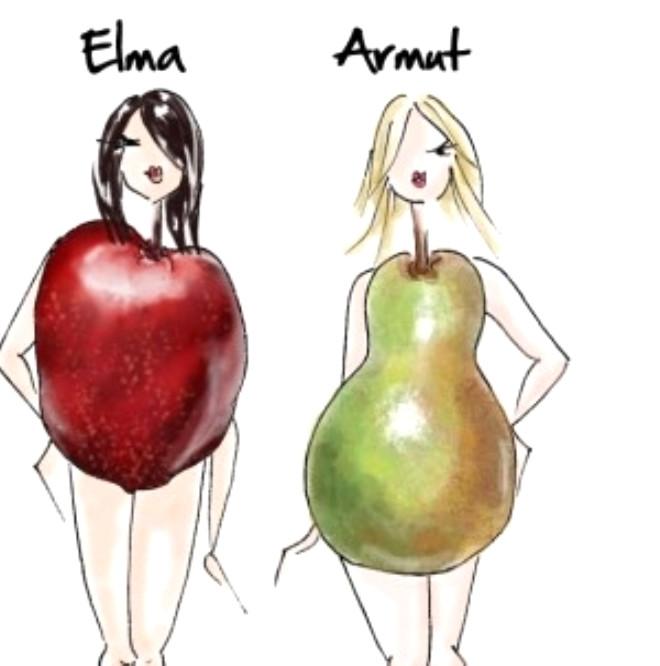"""Vücut şeklinize göre kalçalar daha belirgin ve üst bedeniniz daha zayıfsa """"armut""""; bacaklarınız gövdenize oranla daha ince kalıyorsa """"elma tipi"""" olarak tanımlanan vücut şekline sahipsiniz demektir."""