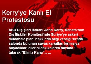 Kerry'ye Kanlı El Protestosu