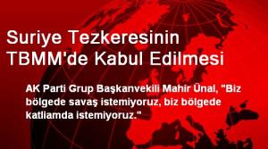 Suriye Tezkeresinin TBMM'de Kabul Edilmesi