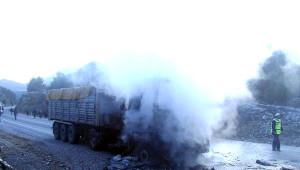 Otomobil Yüklü Tır'da Yangın Çıktı