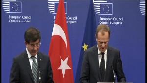 Başbakan Davutoğlu Avrupa Konseyi Başkanı Donald Tusk ile Ortak Basın Toplantısı Düzenledi