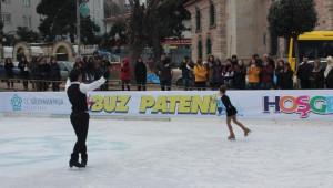 Süleymanpaş'da Buz Pateni Pisti Açıldı