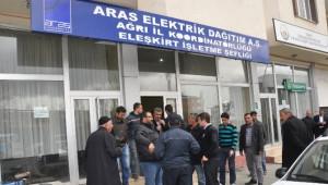 Eleşkirt'te Elektrik Kesintisi Protestosu
