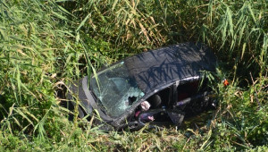 Otomobil Pirinç Tarlasına Uçtu: 2 Yaralı