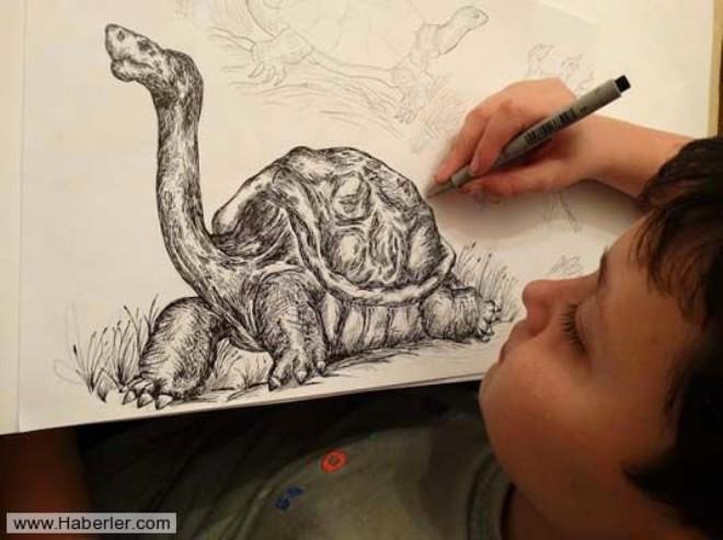 13 Yaşındaki çocuğun Akıllara Zarar Kara Kalem çizimleri Foto