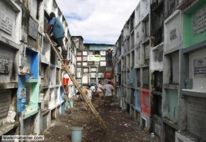 Filipinler'de Korkunç Manzara! Fakir Halk Mezarda Yaşıyor