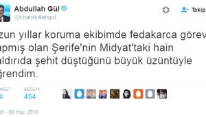 Abdullah Gül'den Şehit Olan Yakın Koruması İçin Twıtter'dan Fotoğraflı Başsağlığı Mesajı