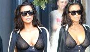 Kim Kardashian Sütyensiz Tül Büstiyeriyle Şaşkınlık Yarattı