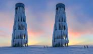 Su Deposu Buz Kulesi oldu! Van'dan Muhteşem Görüntüler