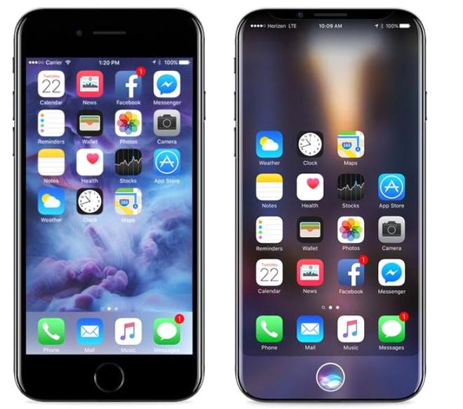 iPhone 7 ve konsept iPhone 8 yan yana... Telefonun en dikkat çeken yanı ise şeffaf tasarımı... Çerçeve yok denecek kadar az!