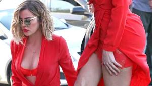 Khloe Kardashian Geceliği Andıran Kırmızı Kıyafetiyle Sokağa Çıktı