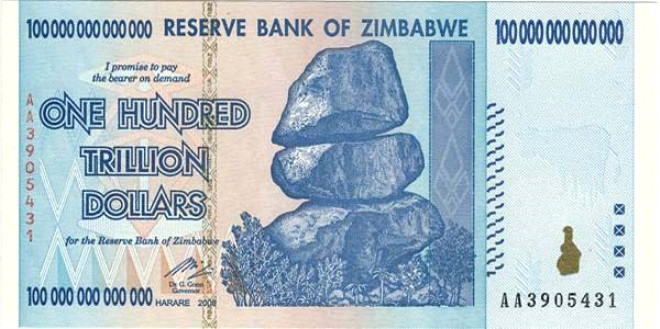 Zimbabve'nin 100 trilyon dolarlık banknotu