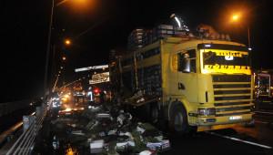 Güncelleme - Osmangazi Köprüsü'nde Kamyon Alev Aldı
