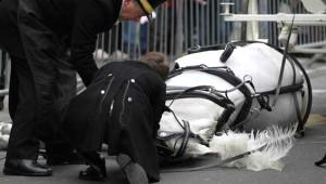 İngiltere'nin Yeni Yıl Geçit Töreninde Yürek Burkan An! At Bir Anda Yere Yığıldı