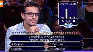 Milyoner'e Damga Vuran Yarışmacı: Meşhur MFÖ Şarkısını Bilemedi