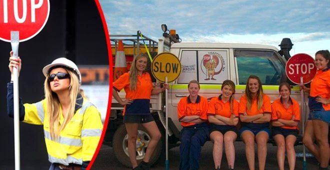 Bu kadınlar inşaatlarda saati 550 TL'ye çalışıyor, trafik levhası tutarak ekmek parası kazanıyor!