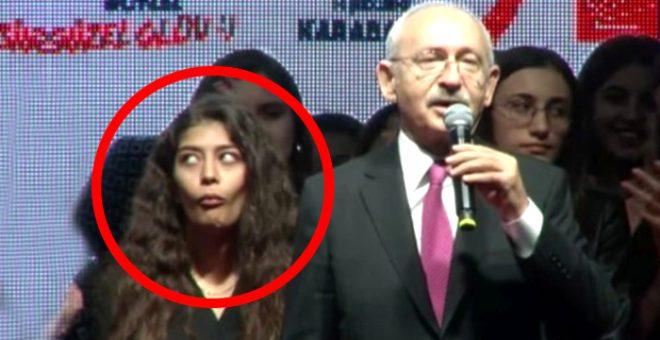 Kılıçdaroğlu'nun arkasında şekilden şekile giren genç kızın kimliği ortaya çıktı!