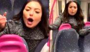 Trende gergin anlar! Sarhoş kadın, erkek yolculara tokat atıp taciz etti