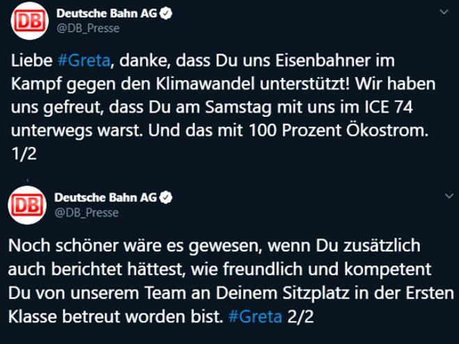DB,Greta Thunberg'inKassel ve Hamburgşehirleri arasında birinci sınıfta seyahat ettiğini belirtti.