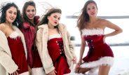 Soğuk havaya aldırış etmediler! 'Noel Anne'ler Antalya'nın zirvesini ısıttı