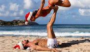 Ünlü kalecinin nişanlısıyla yoga hareketi, sosyal medyayı salladı! İşte futbolcuların Noel paylaşımları