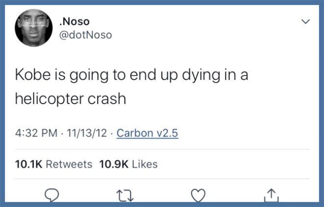 Kobe Bryant'ın helikopter kazasında öleceğini 8 yıl önce yazan Twitter kullanıcısının foyası ortaya çıktı!