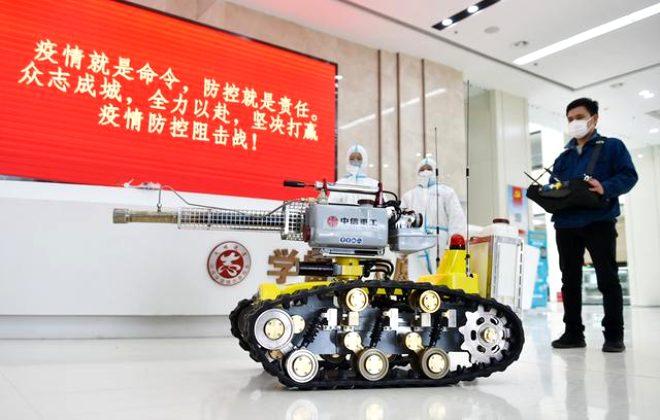 Çin'den katil koronavirüse karşı süper icat: İnsansız dezenfektan püskürtücü