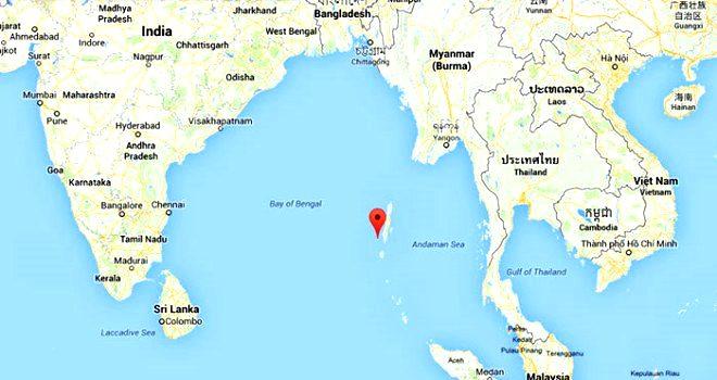 Burası Hint Okyanusu'nun ortasındaki Büyük Adaman Takımadaları'nın kıyısında bulunan Kuzey Sentinel Adası.