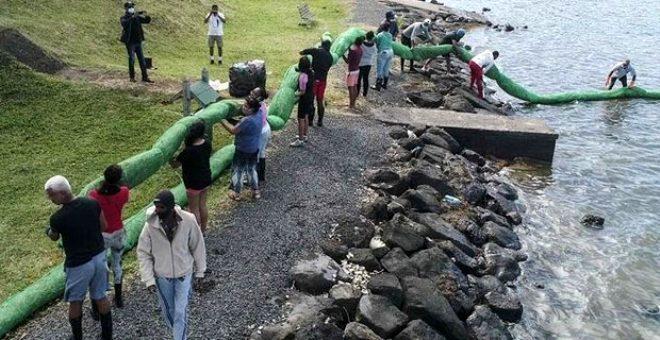 Mauritius halkı okyanusa sızan petrolü temizlemek için saçlarını bağışlıyor