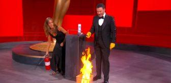 Stüdyoda zarfı yakıp yangın tüpüyle söndürdüler! İşte 2020 Emmy Ödülleri töreninden ilginç kareler