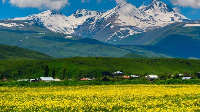Ermenistan'daki Aragats Dağı'nın eteğindeki yol