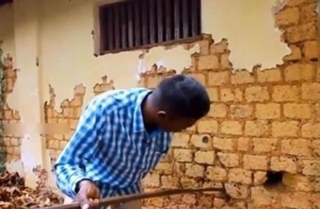 Duvardan gelen seslere kayıtsız kalamayan adam gördüğü manzara karşısında dehşete düştü