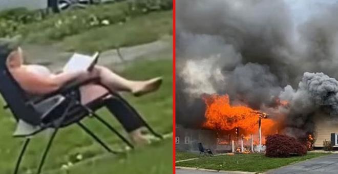 İçinde arkadaşının olduğu evi ateşe verdikten sonra sandalyeye oturup çıkan alevleri izledi