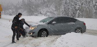 Taşkesti: Bolu Dağı'nda Yoğun Kar Yağışı ve Buzlanma Nedeniyle Sürücüler Zor Anlar Yaşıyor