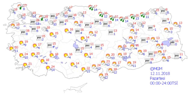 Kasım ayı kendini hissettirmeye başladı. Hava sıcaklıkları gittikçe düşüyor. Yeni haftada ise hafta boyunca soğuk hava kendisini gösterecek. Salı günü Doğu Anadolu Bölgesi'nde kar yağışı bekleniyor.   Sungurlu Haber