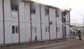 Hastanenin İnşaatında Çalışan İnşaat İşçilerin Kaldığı Prefabrikte Yangın