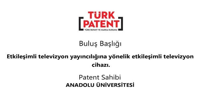 Anadolu Üniversitesi'ne Türk Patent ve Marka Kurumu Tarafından Patent Verildi