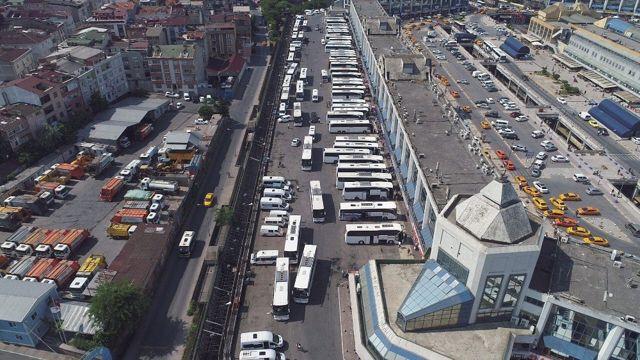 15 Temmuz Demokrasi Otogarı'nda dönüş yoğunluğu havadan görüntülendi