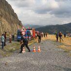 Bafra'da kamyonet baraj gölüne düştü