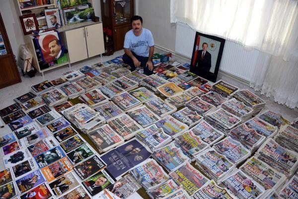 2002 yılından beri Erdoğan'la ilgili arşiv yapıyor! Odada yer kalmadı