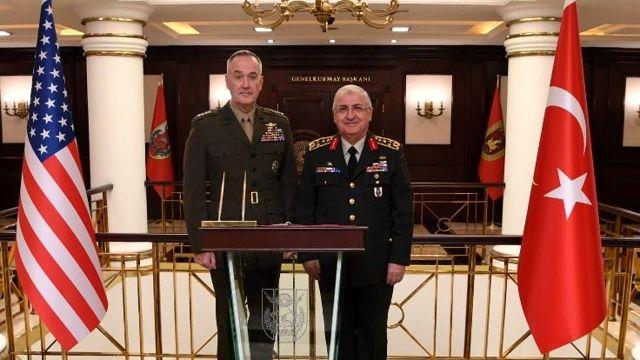 Genelkurmay Başkanı Güler, ABD'li mevkidaşı Dunford ile Güvenli Bölge'yi görüştü