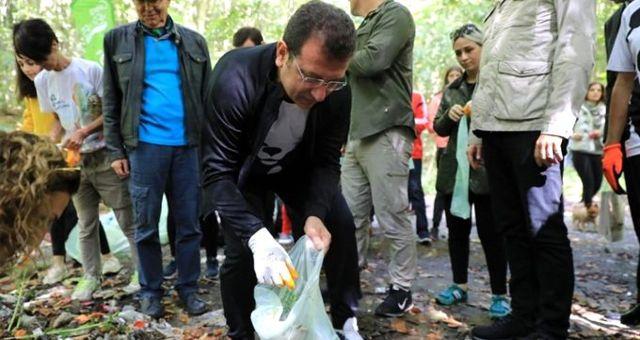 İBB Başkanı Ekrem İmamoğlu, Dünya Temizlik Günü kapsamında çöp topladı