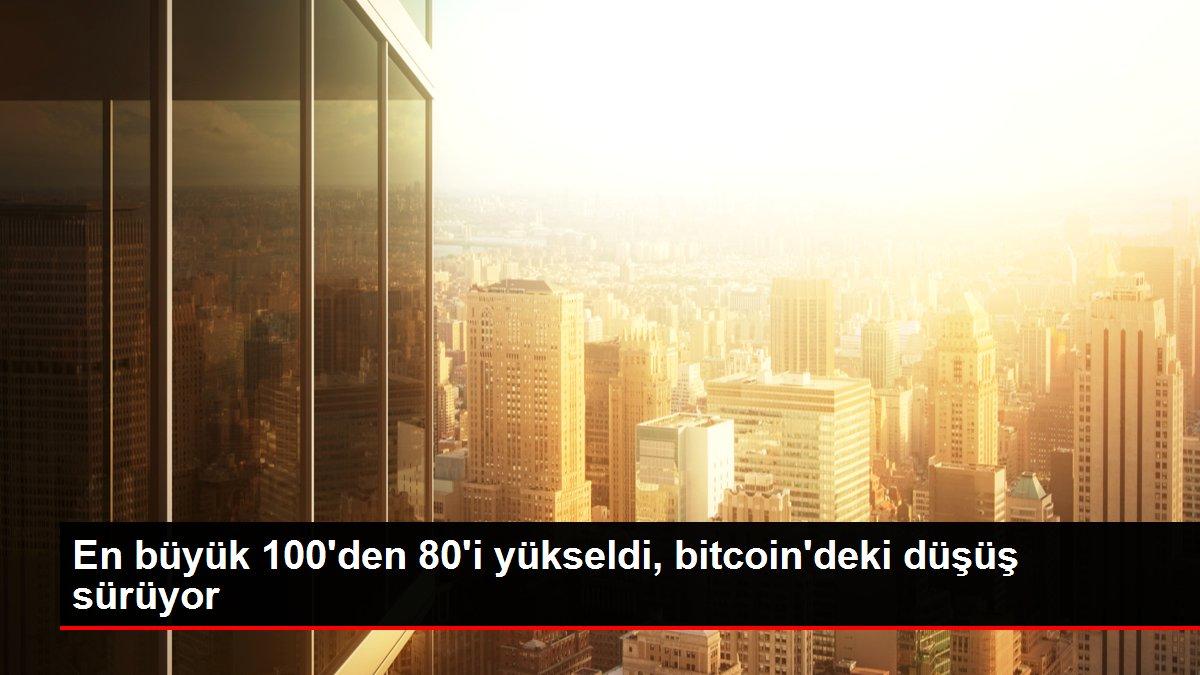 En büyük 100'den 80'i yükseldi, bitcoin'deki düşüş sürüyor