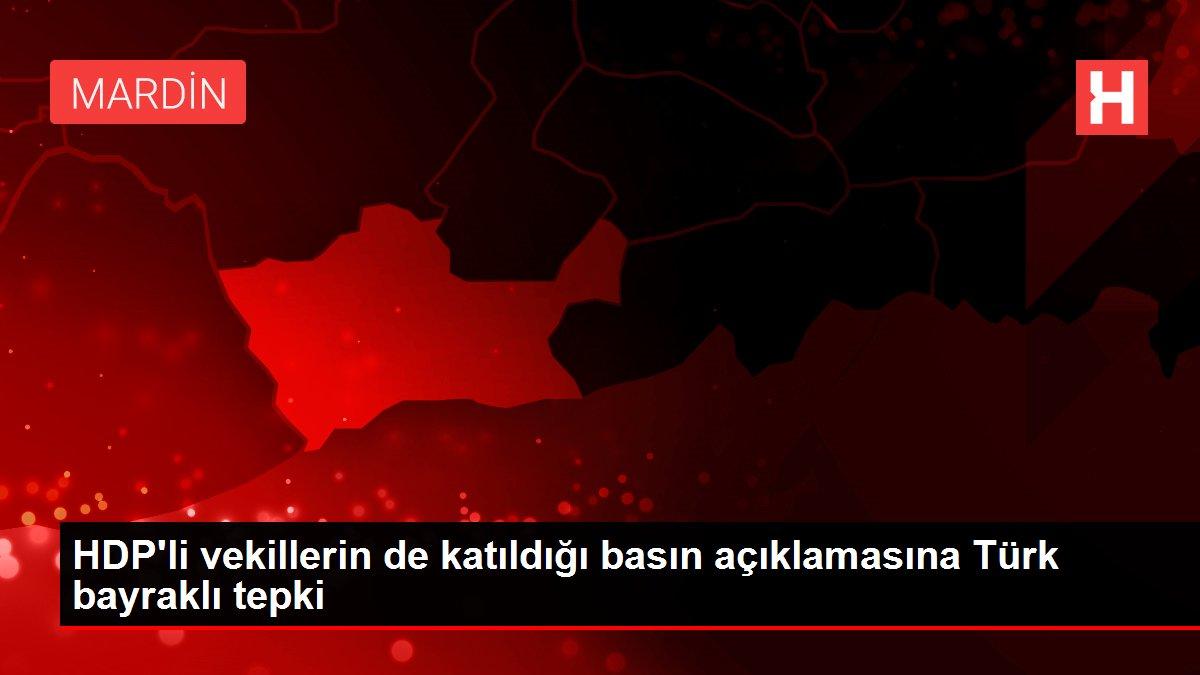HDP'li vekillerin de katıldığı basın açıklamasına Türk bayraklı tepki