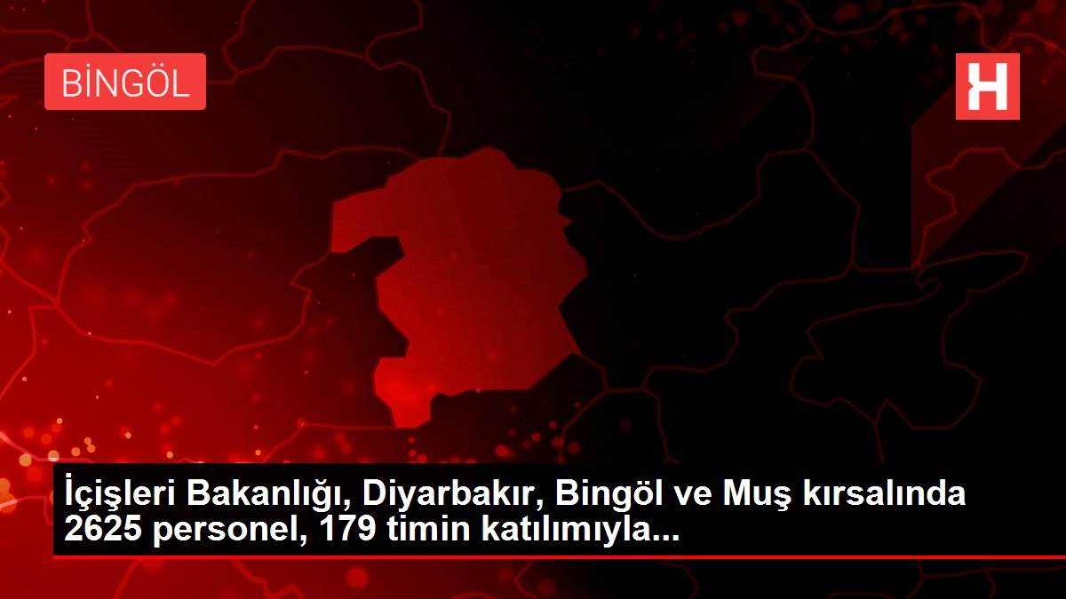 İçişleri Bakanlığı, Diyarbakır, Bingöl ve Muş kırsalında 2625 personel, 179 timin katılımıyla...